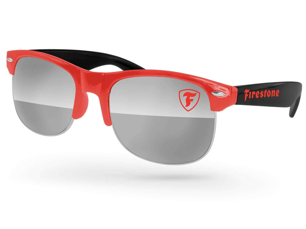 2-tone Club Mirror Promotional Sunglasses w/ 1-color lens & temple imprint