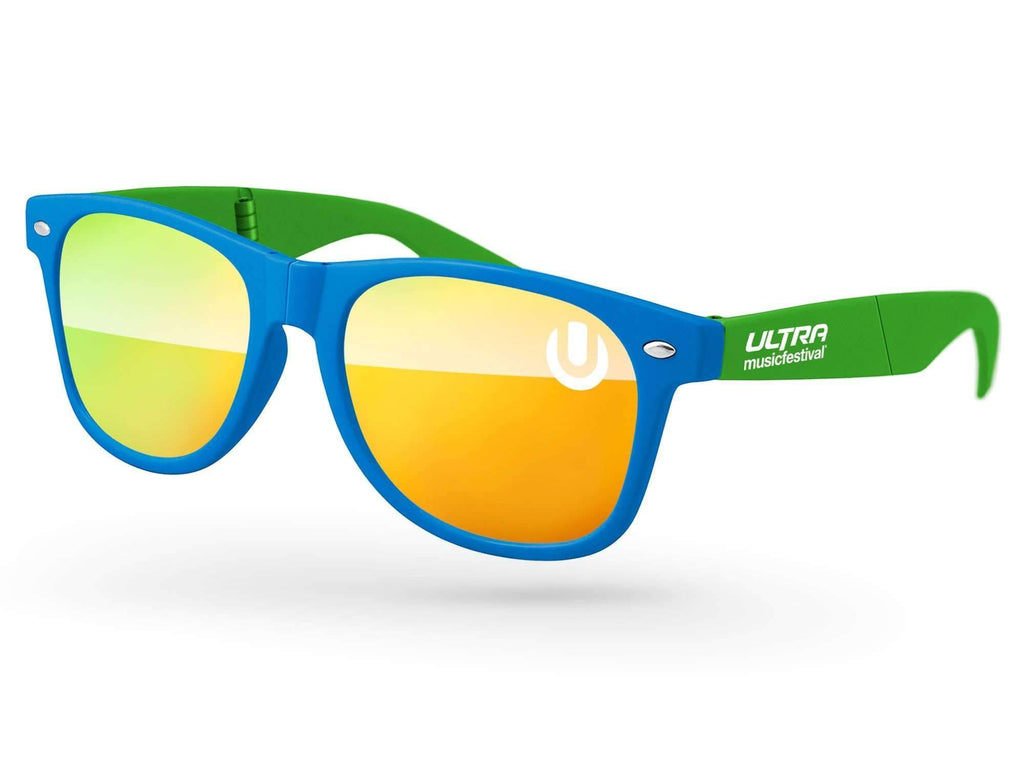 RM512-F - 2-tone Foldable Retro Mirror Promotional Sunglasses w/ 1-color lens & temple imprint