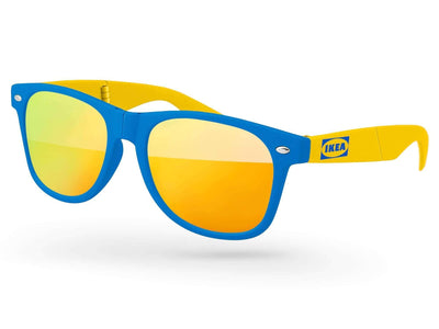 2-tone Foldable Retro Mirror Promotional Sunglasses w/ 1-color temple imprint