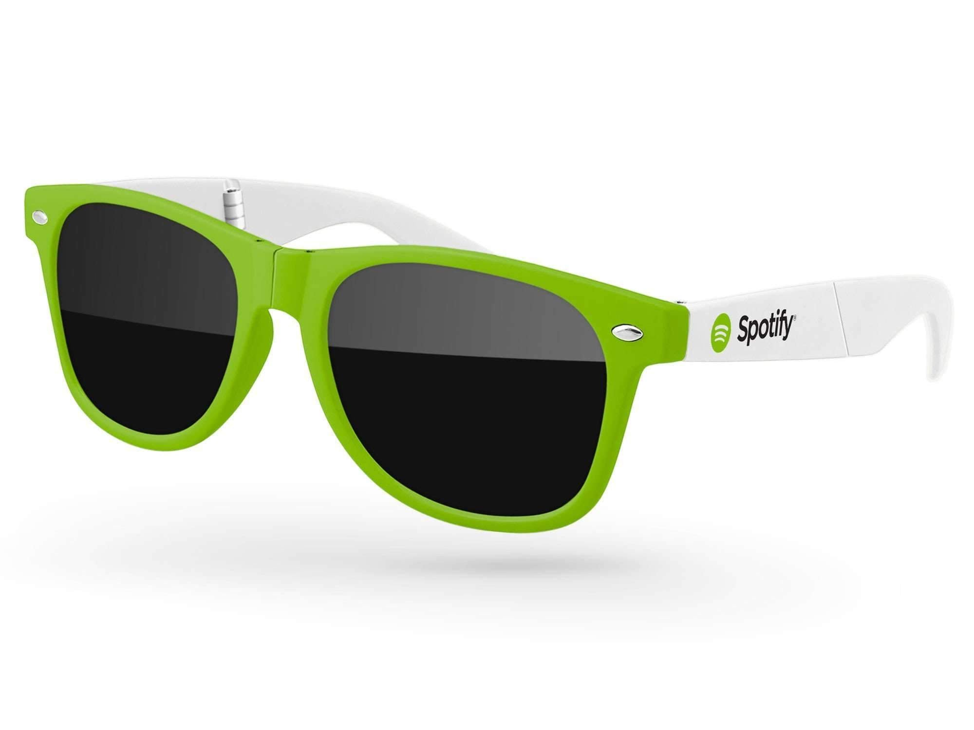 RD012-F - 2-tone Foldable Retro Promotional Sunglasses w/ 1-color temple imprint