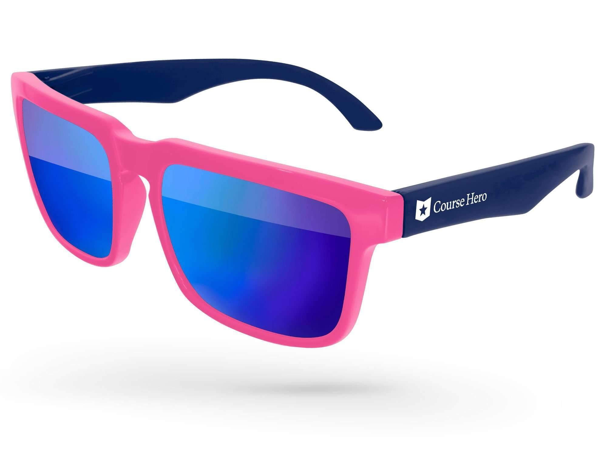 2-tone Heat Mirror Promotional Sunglasses w/ 1-color temple imprint