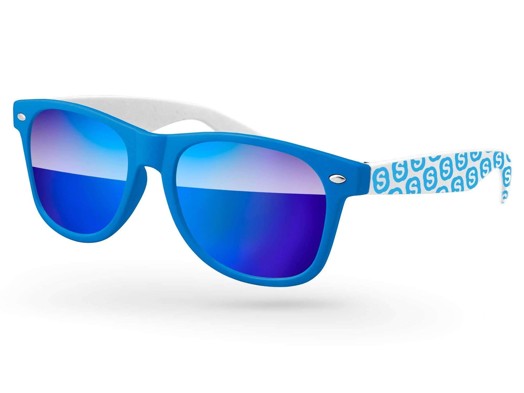 RM032 - 2-tone Retro Mirror Promotional Sunglasses w/ 1-color extended temple imprint