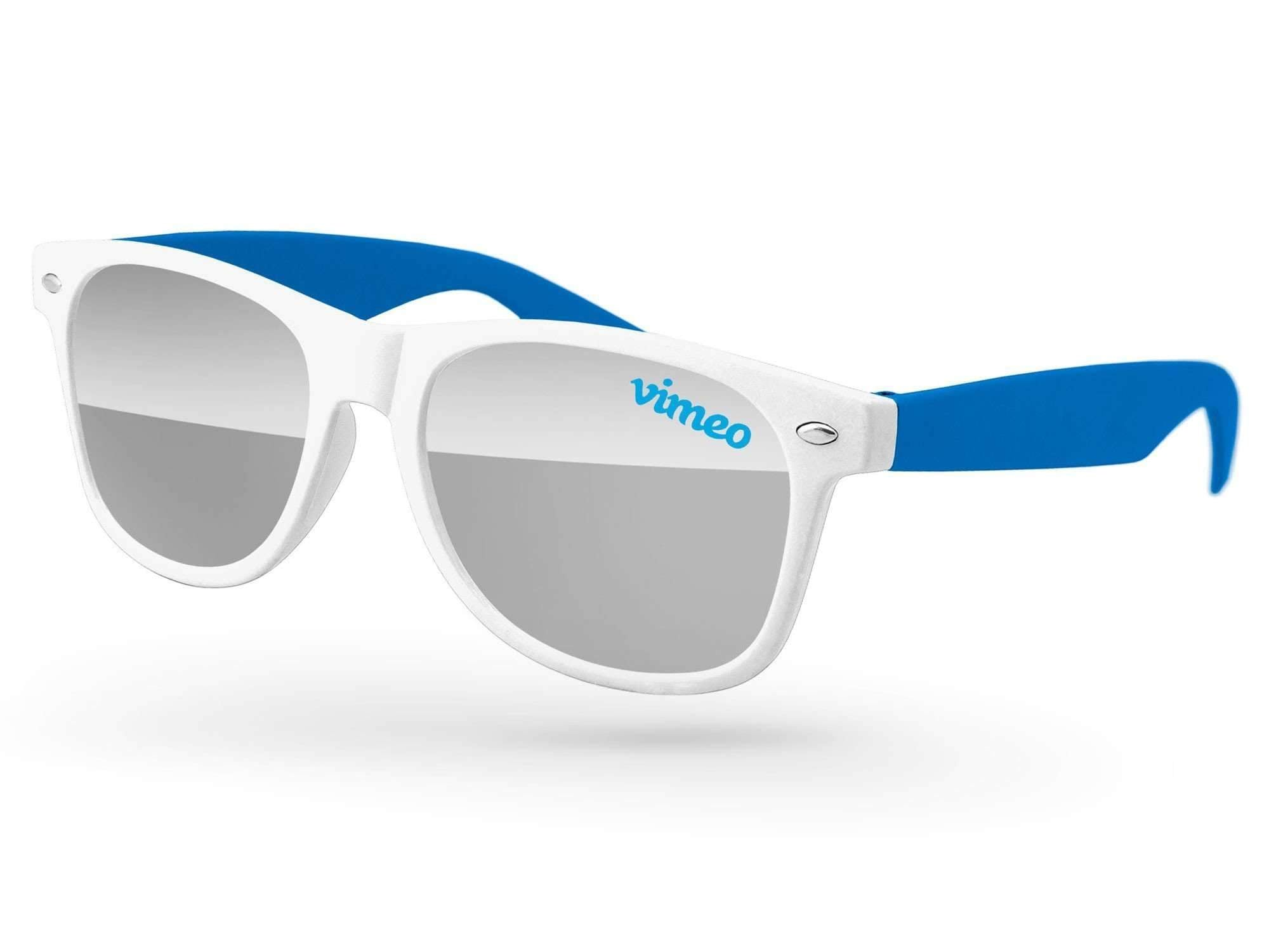 RM502 - 2-tone Retro Mirror Promotional Sunglasses w/ 1-color lens imprint