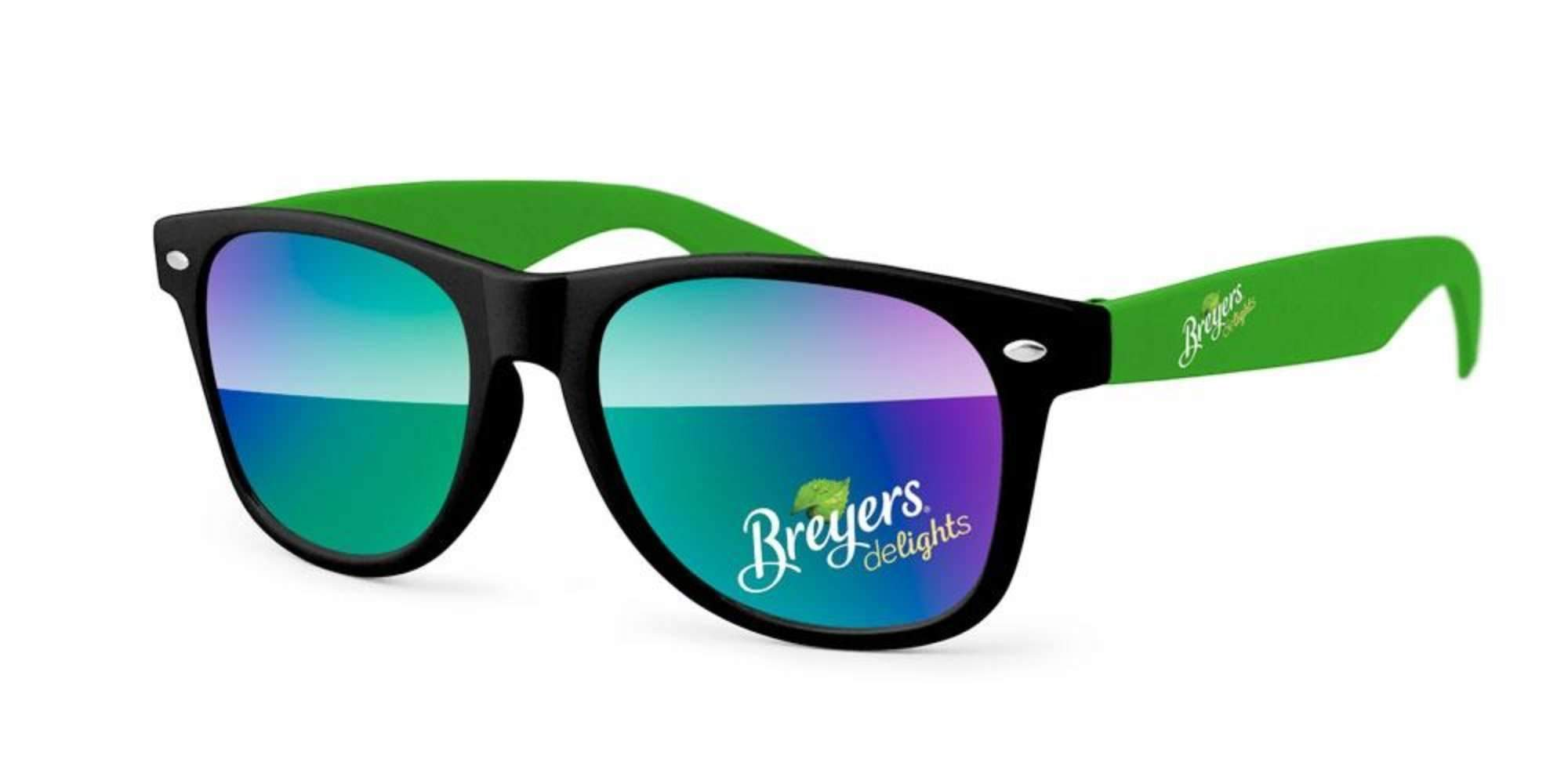 RM422 - 2-tone Retro Mirror Promotional Sunglasses w/ full-color lens & temple imprints