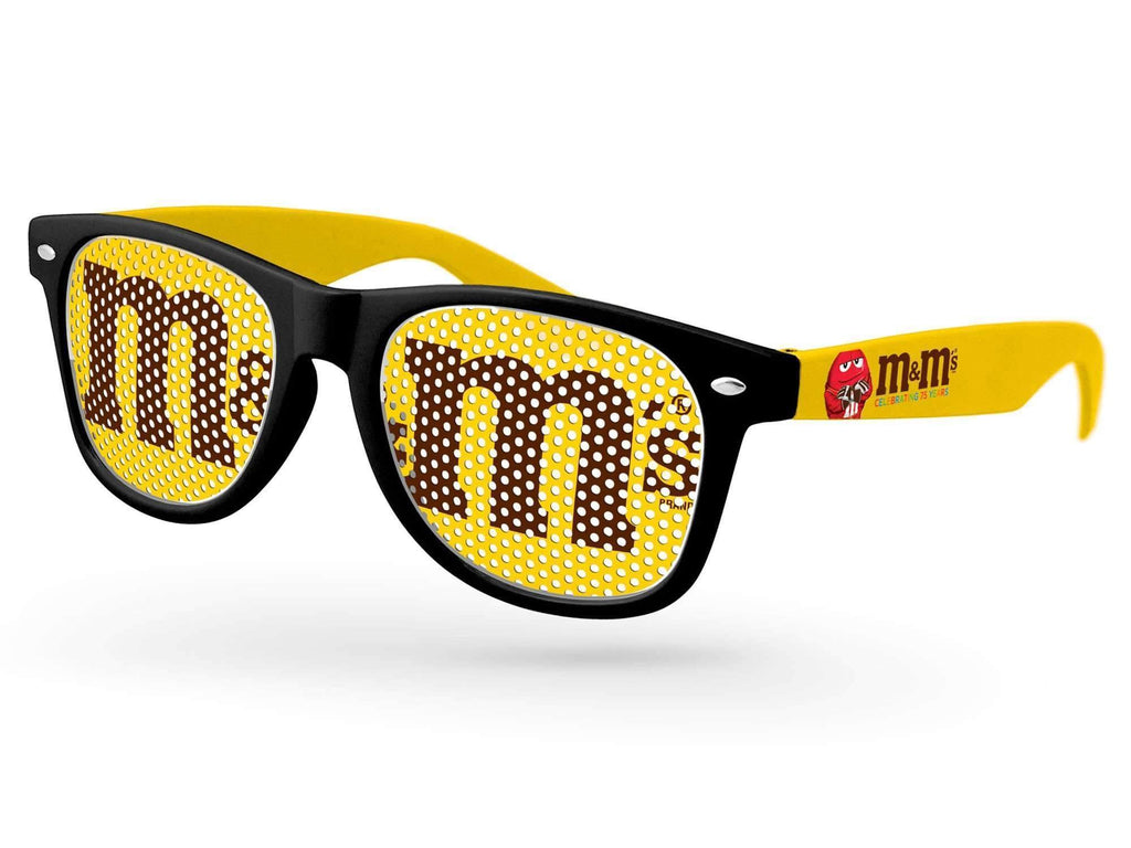 RC122 - 2-tone Retro Pinhole Promotional Sunglasses w/ full-color temple imprint
