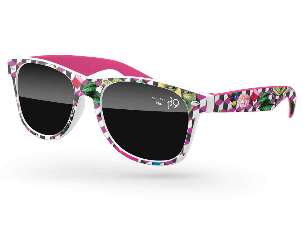 RD562 - 2-tone Retro Promotional Sunglasses w/ 1-color lens imprint & full-frame full-color heat transfer