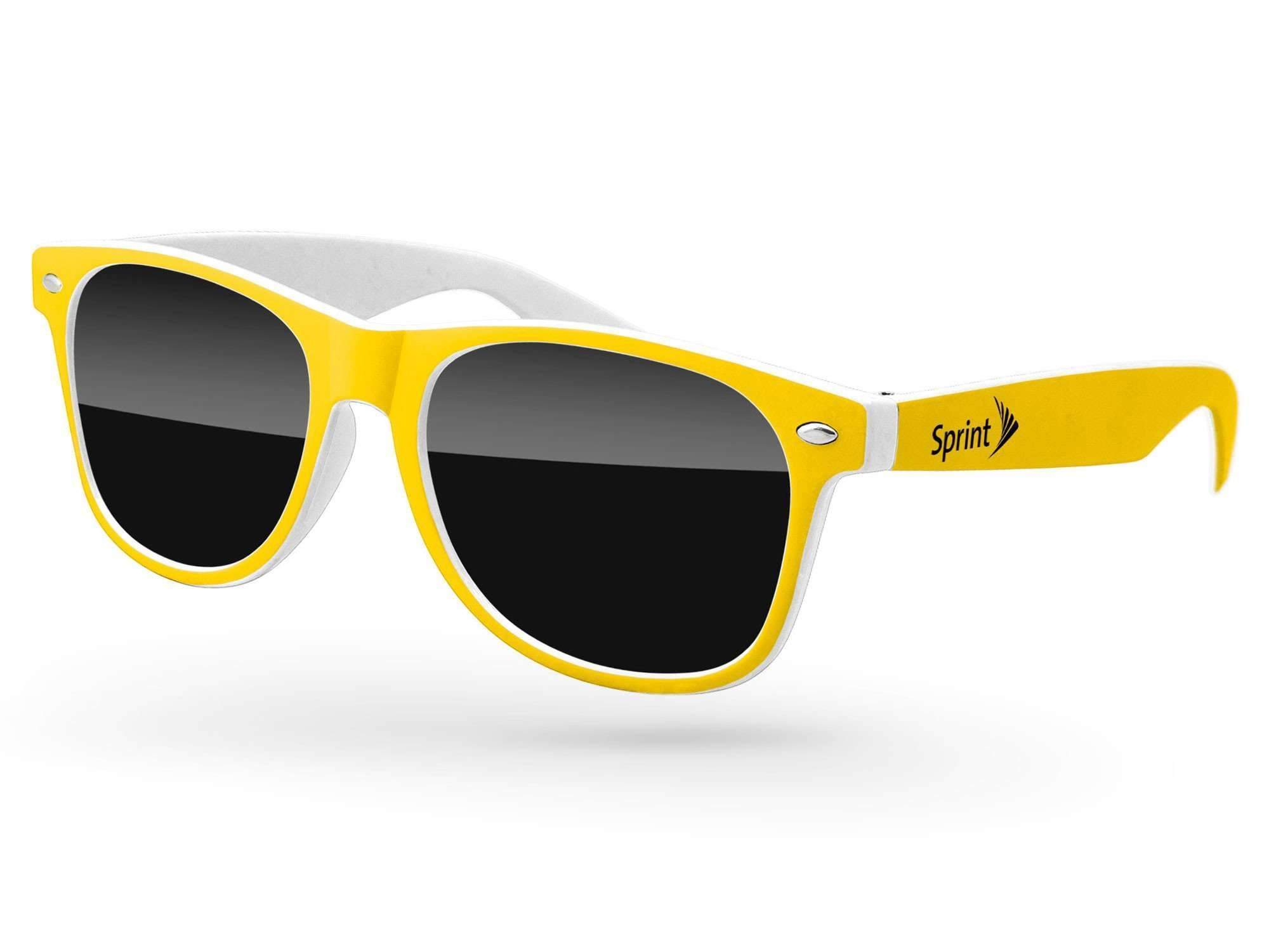 RD011 - 2-tone Retro Promotional Sunglasses w/ 1-color temple imprint