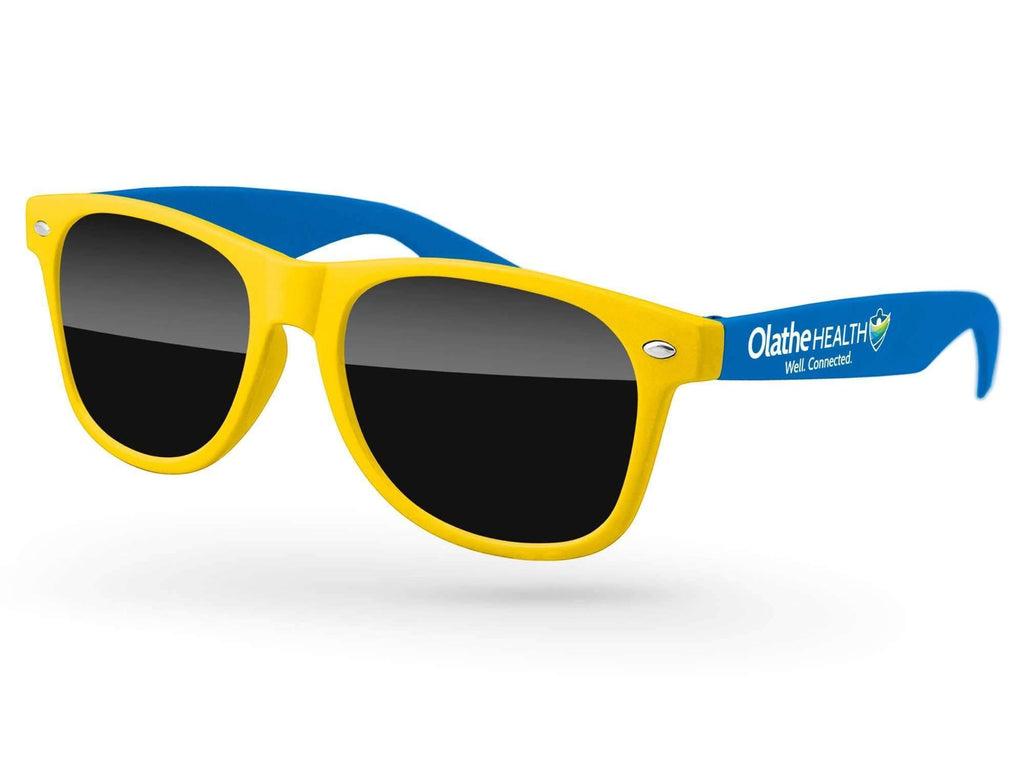 2-tone Retro Promotional Sunglasses w/ full-color temple imprint