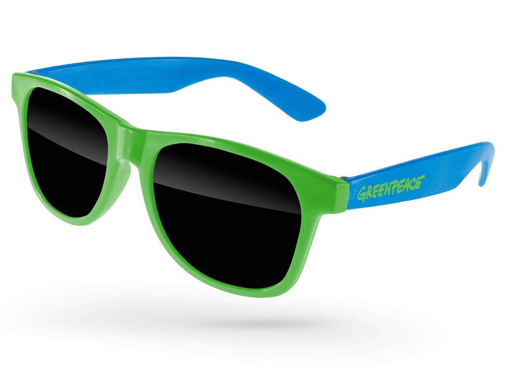 RD012-P - 2-tone Value Retro Promotional Sunglasses w/ 1-color temple imprint
