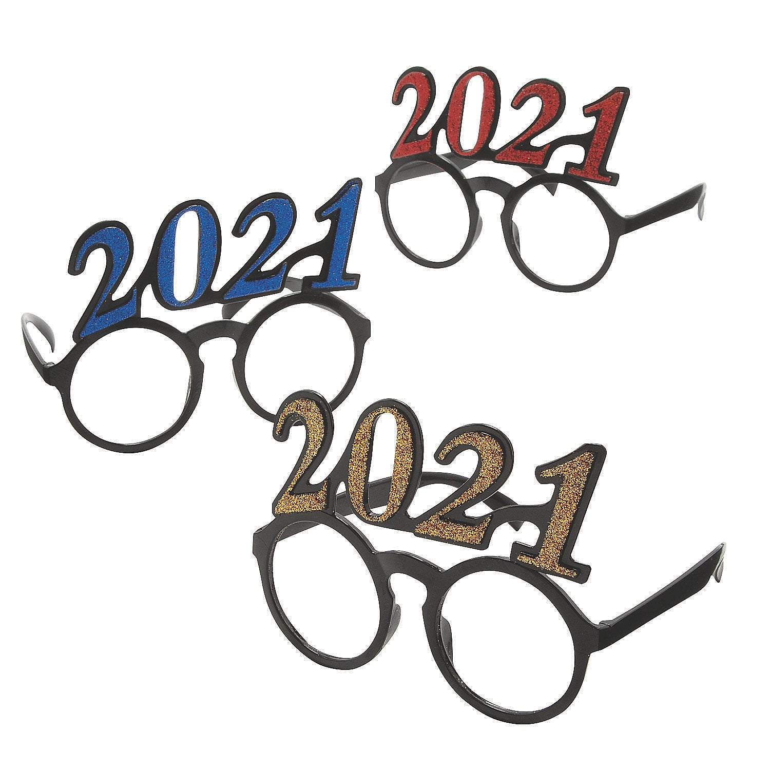 2021-RND Novelty 2021 Shaped New Year Eve Promotional Round Glasses