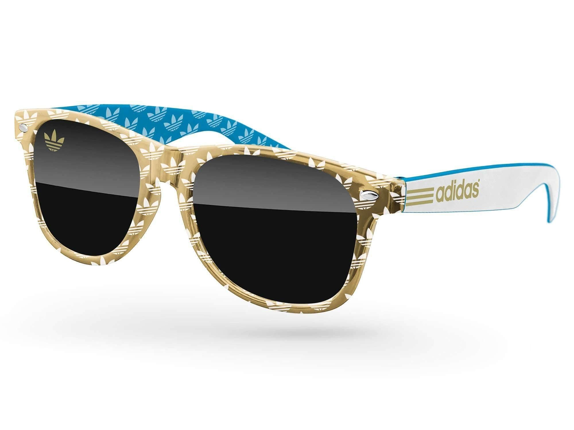 RD533-M - 3-tone Metallic Retro Promotional Sunglasses w/ 1-color lens imprint & 1-color extended temple imprint