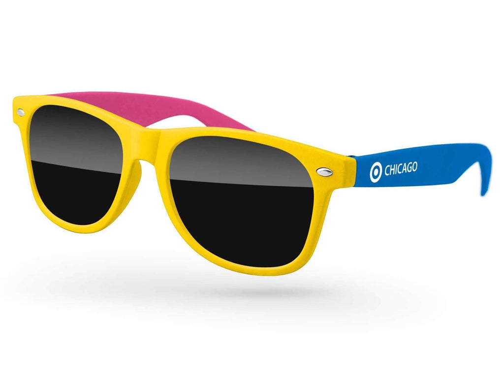 RD013 - 3-tone Retro Promotional Sunglasses w/ 1-color temple imprint