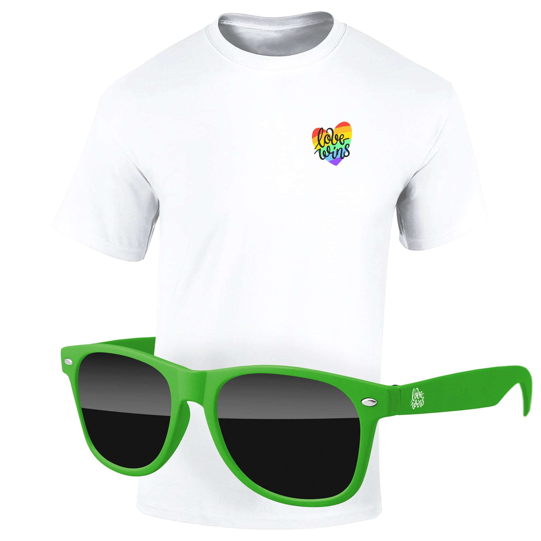 "4980-1KL04 - Pride T-Shirt & Sunglasses Kit - Full-Color On White/Very Light T-Shirt (Up to 4""x4"")"