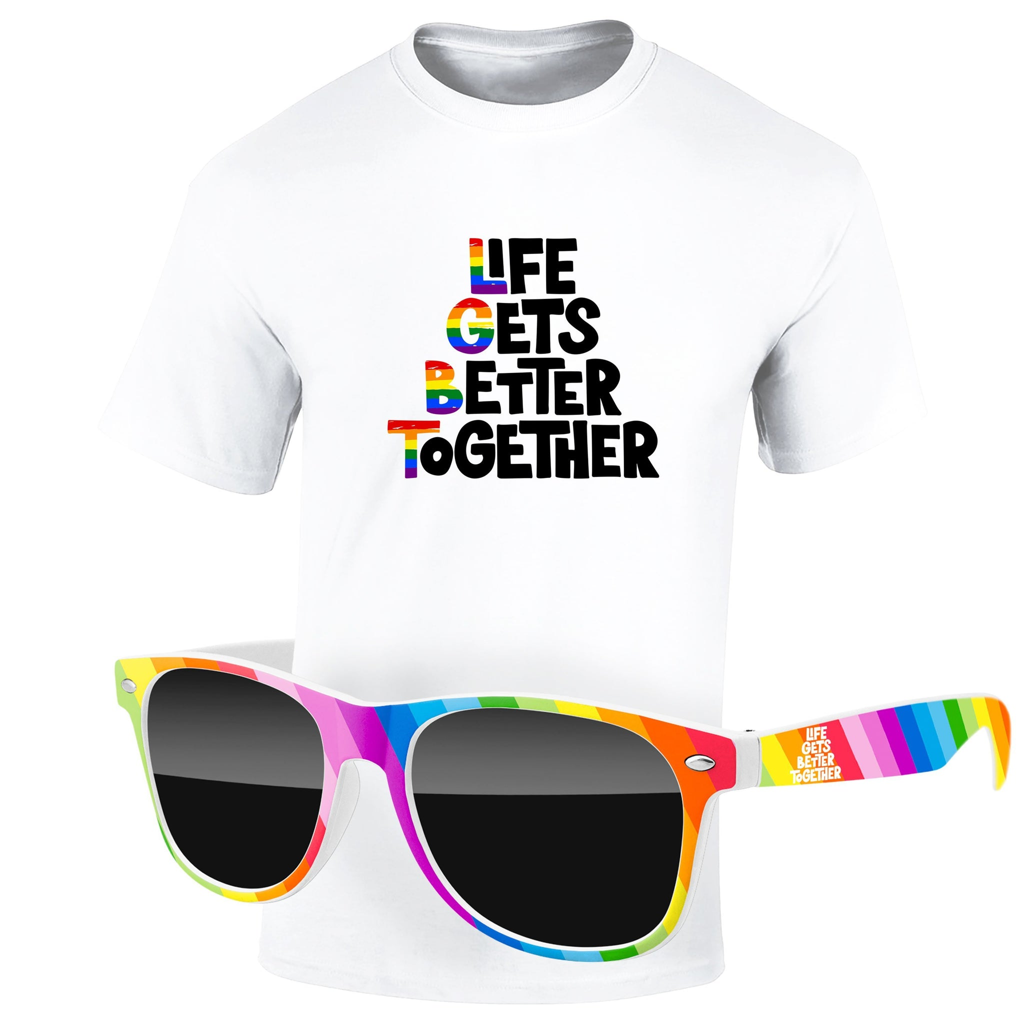 "4980-1KL12-P - Pride T-Shirt & Rainbow Sunglasses Kit - Full-Color On White/Very Light T-Shirt (Up To 12"" x 12"")"