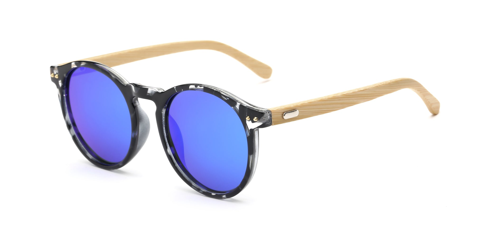 8127-M - Retro Round Mirrored Dark Lens Wood Sunglasses