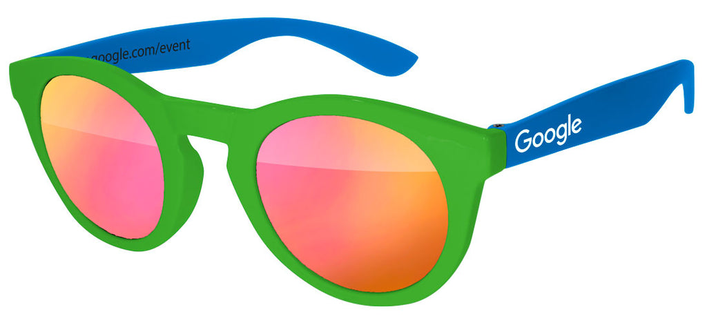 DM012 - 2-Tone Mirror Promotional Sunglasses w/ one 1-color temple imprint