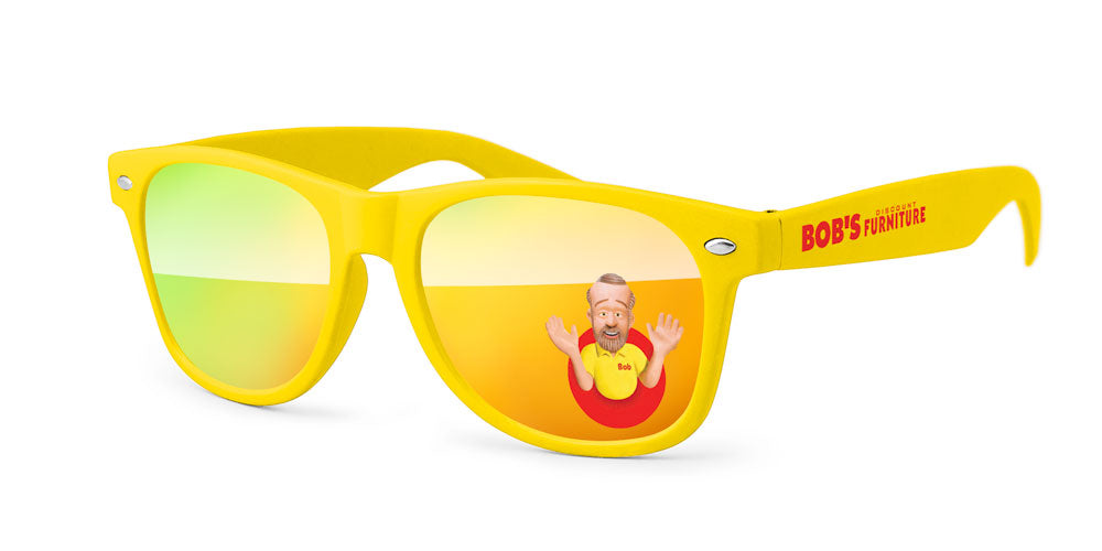 RM710 - Retro Mirror Promotional Sunglasses w/ full-color lens imprint & 1-color temple imprint
