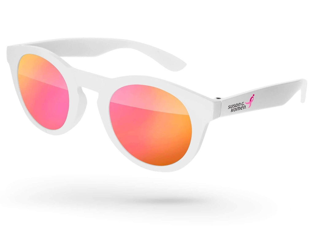 DM010 - Breast Cancer Awareness Andy Mirror Promotional Sunglasses w/ 1-color temple imprint