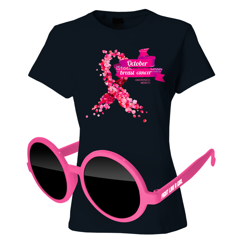 SL04-1KD12 - Ladies T-Shirt & Sunglasses Kit - Full-Color On Black T-Shirt (Up To 12x12in)