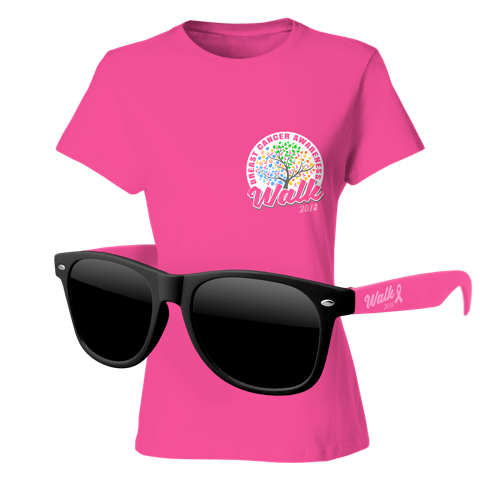 Ladies T-Shirt & Sunglasses Kit - Full-Color On Pink T-Shirt (Up To 5x5in)