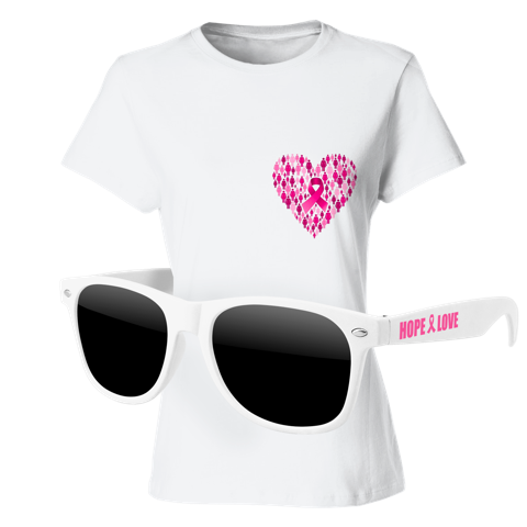 Ladies T-Shirt & Sunglasses Kit - Full-Color On White T-Shirt (Up To 5x5in)