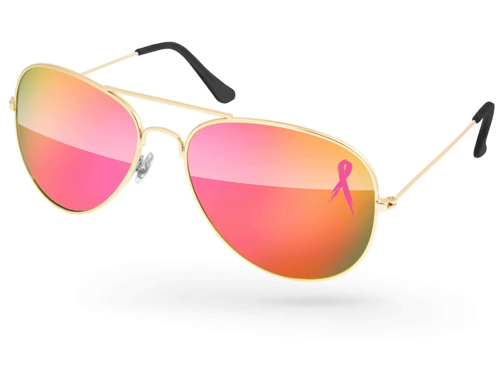 MM500 - Breast Cancer Awareness Metal Aviator Mirror Promotional Sunglasses  w/ 1-color lens