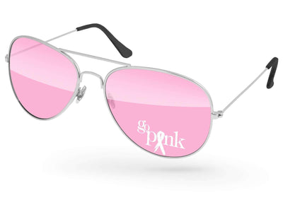 Breast Cancer Awareness Metal Aviator Promotional Sunglasses w/ 1-color lens imprint