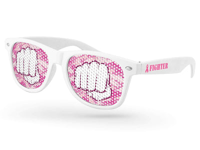 Breast Cancer Awareness Retro Pinhole Promotional Sunglasses w/ 1-color temple imprint