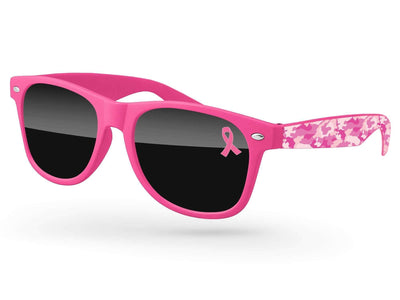 Breast Cancer Awareness Retro Promotional Sunglasses w/ 1-color lens imprint & full-color arm heat transfer