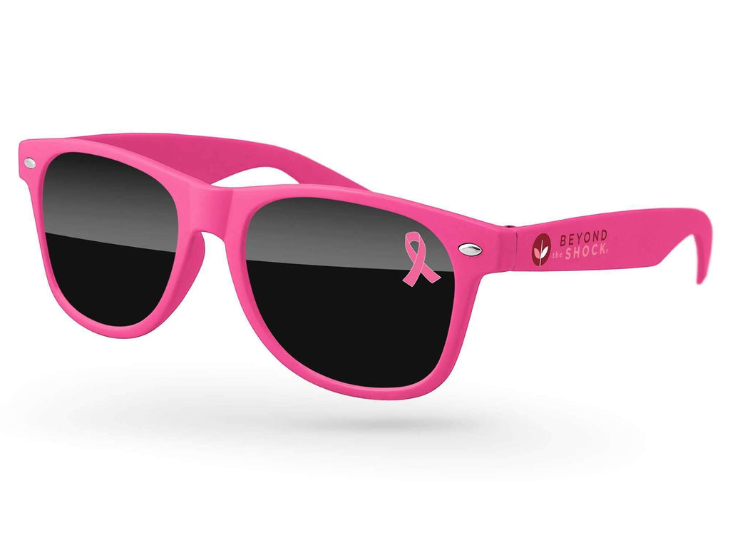 RD510 - Breast Cancer Awareness Retro Promotional Sunglasses w/ 1-color lens & temple imprints