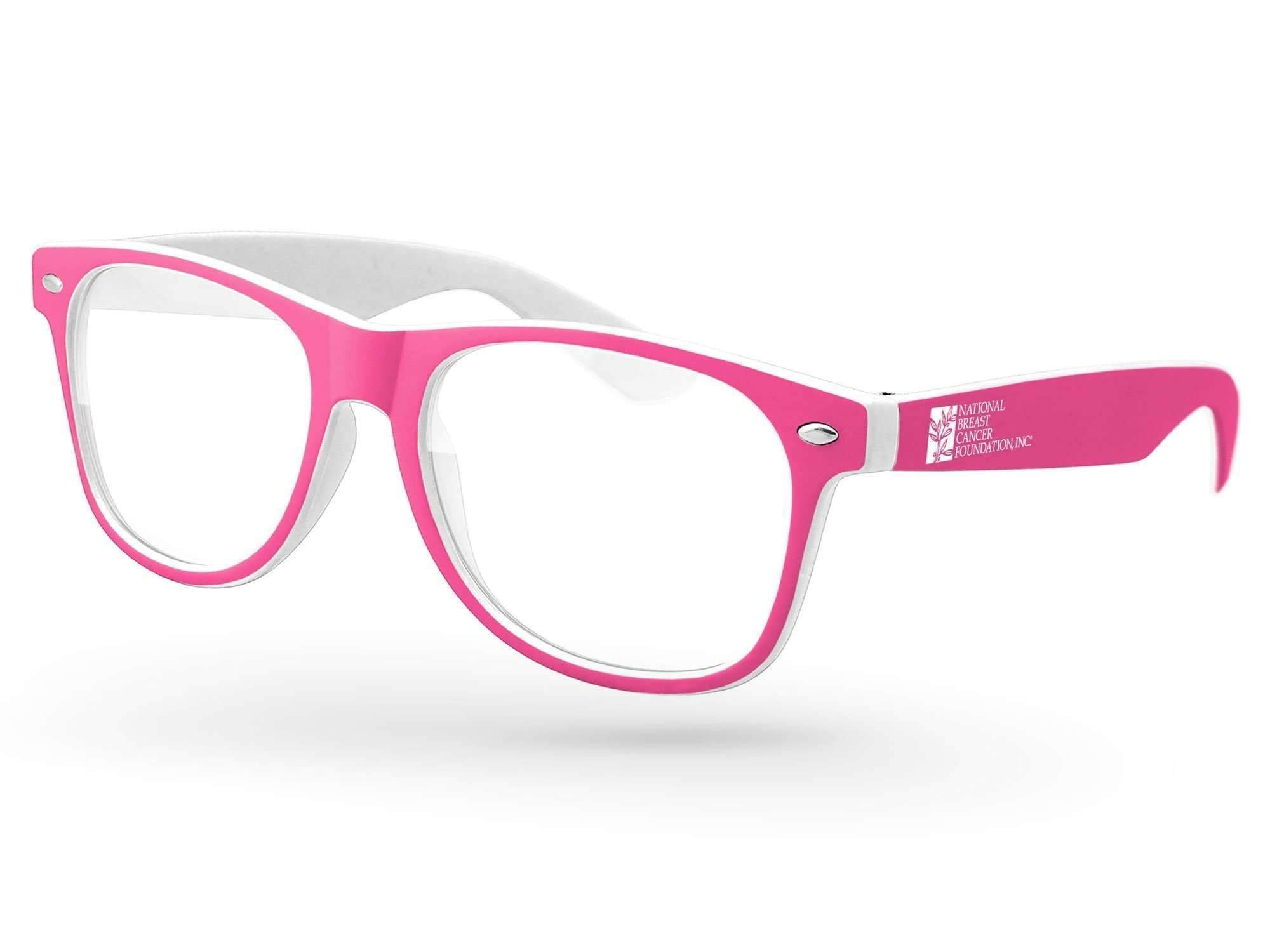 RC011 - Breast Cancer Awareness Retro Promotional Sunglasses w/ 1-color temple imprint