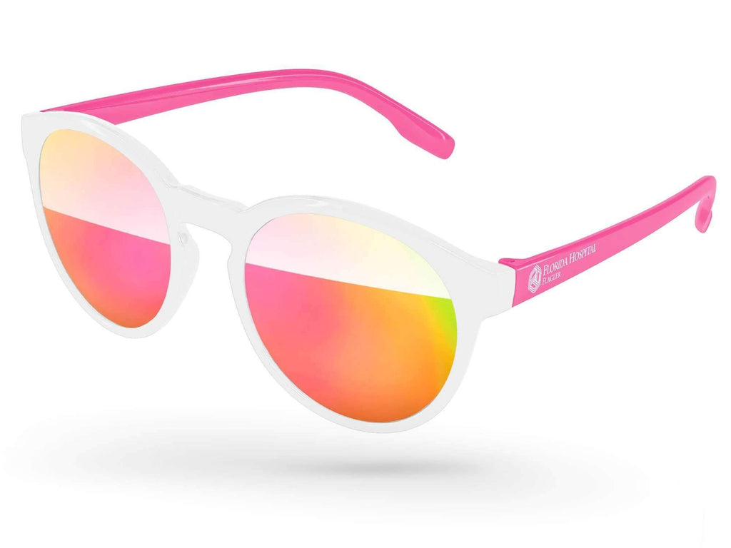 VM012 - Breast Cancer Awareness Vicky Mirror Promotional Sunglasses w/ 1-color temple imprint