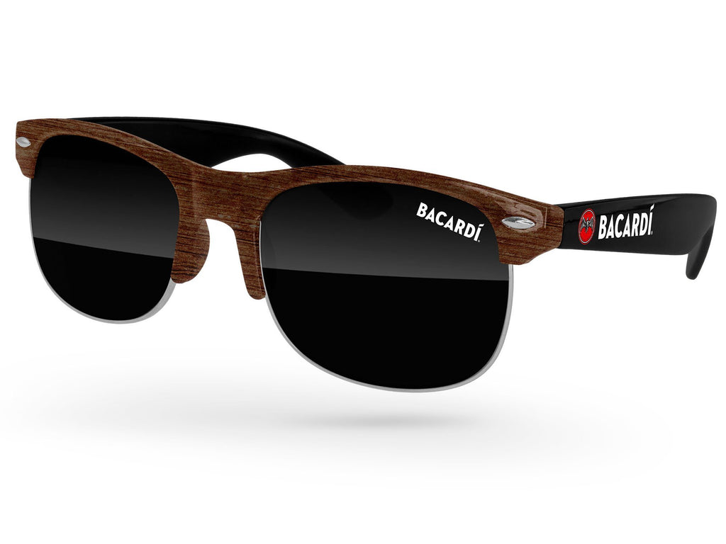 CD522-W - Faux-Wood 2-Tone Club Promotional Sunglasses w/ 1-color lens imprint & full-color temple imprint