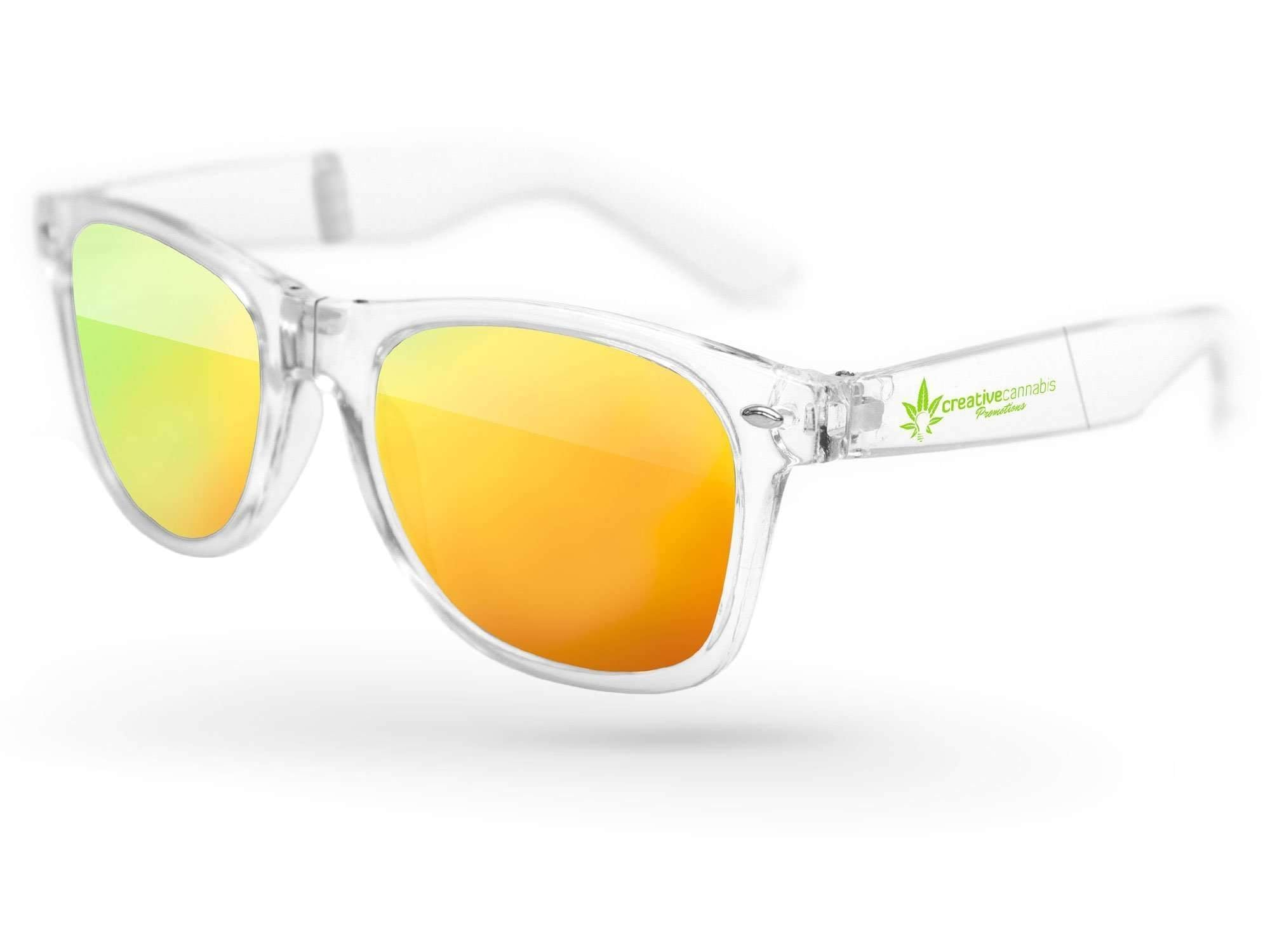 RM010-CF - Clear Foldable Retro Mirror Promotional Sunglasses w/ 1-color temple imprint