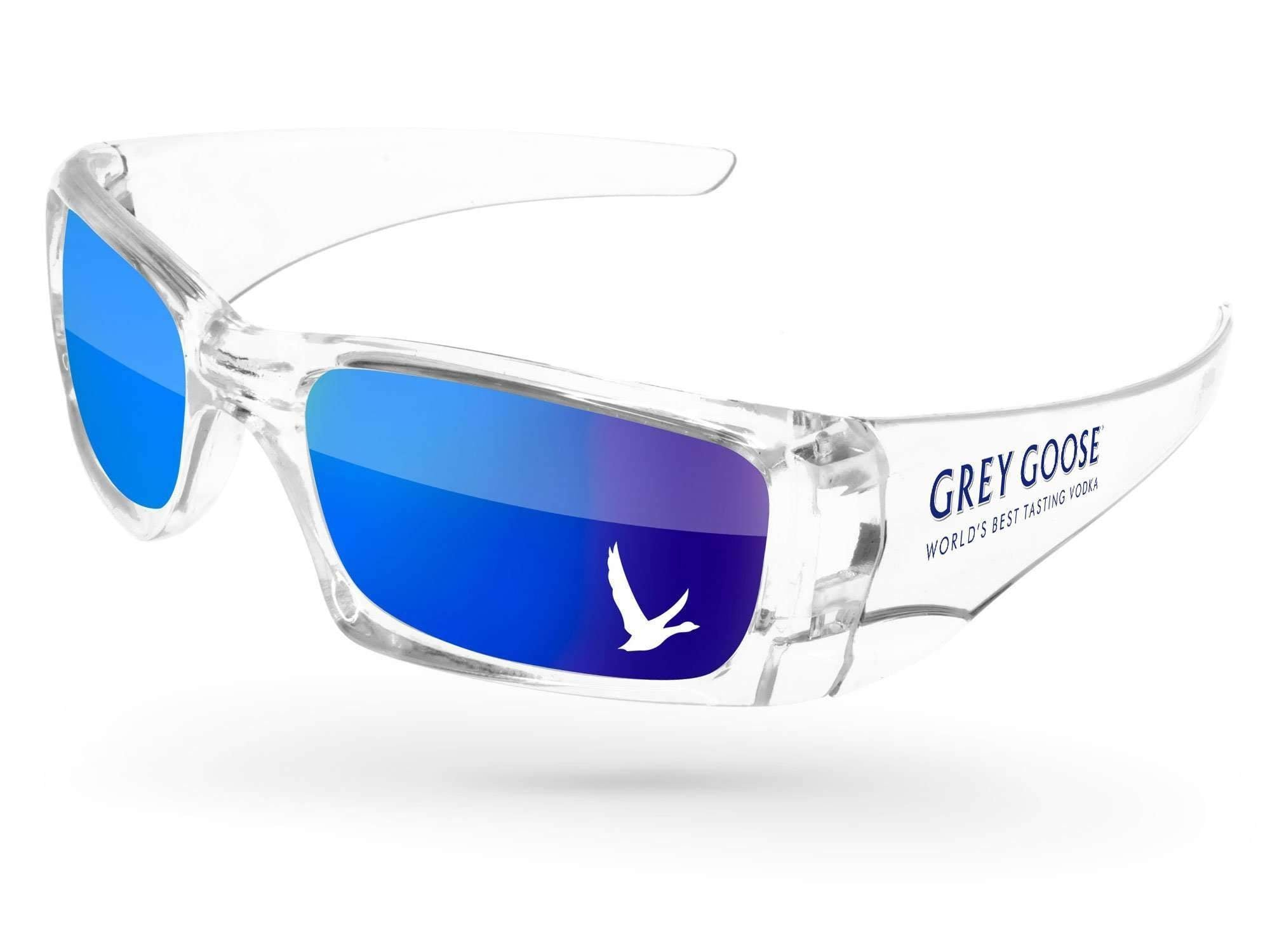Clear Wrap Mirror Promotional Sunglasses w/ 1-color temple imprint