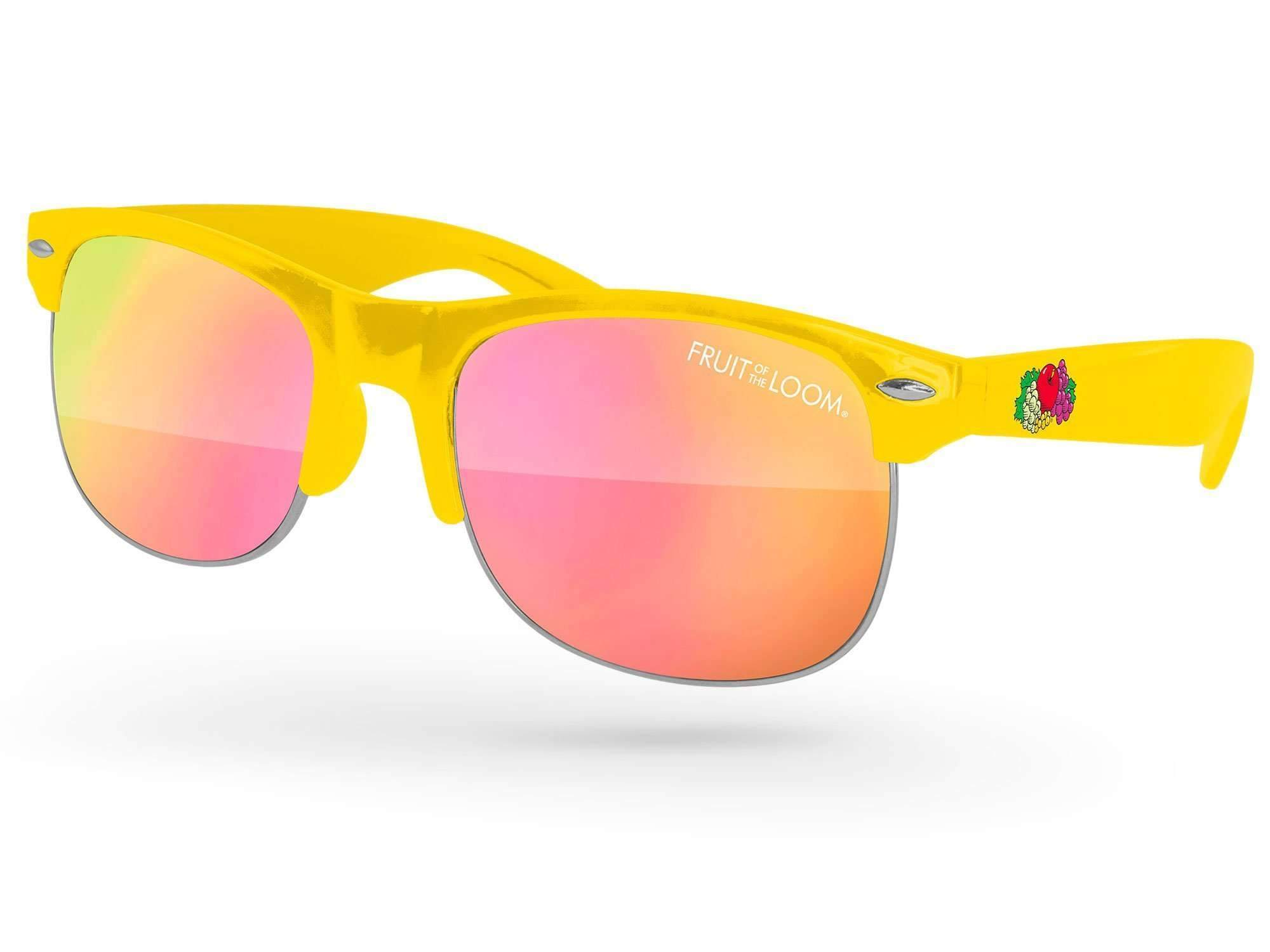 Club Mirror Promotional Sunglasses w/ 1-color lens imprint & full-color temple imprint