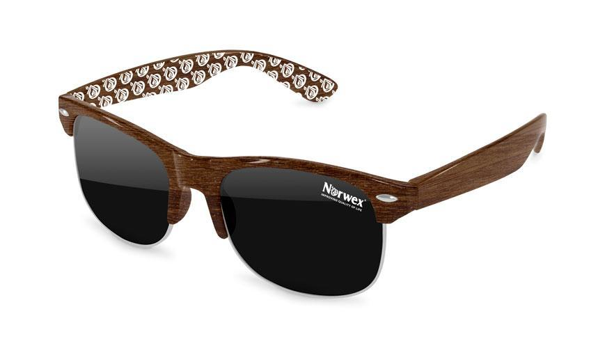 Faux-Wood Club Promotional Sunglasses w/ 1-color lens imprint & 1-color arm extended imprint