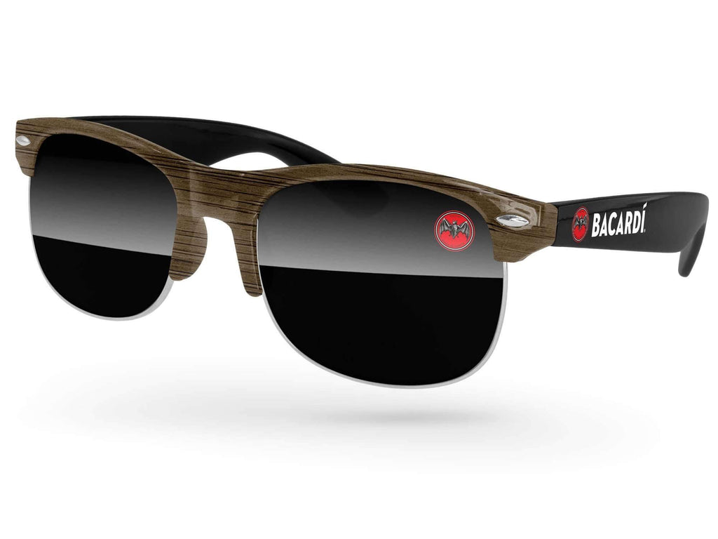 CD722-W - 2-Tone Faux-wood Club Promotional Sunglasses w/ full-color lens & temple imprints & full-color front-frame sublimation wrap
