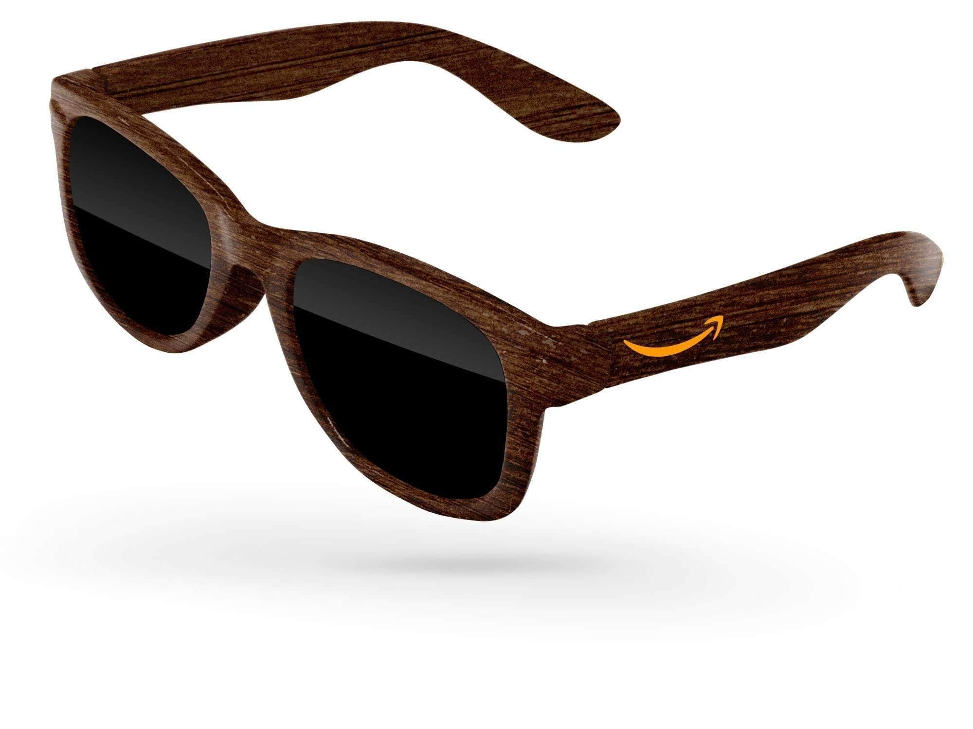 RD010-BW - Faux-wood Infant Retro Promotional Sunglasses (0-3 years) w/ 1-color temple imprint