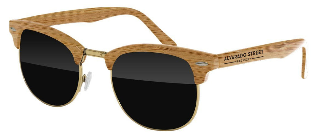 UD010-W - Faux-Wood Metal Club Promotional Sunglasses w/ 1-color temple imprint