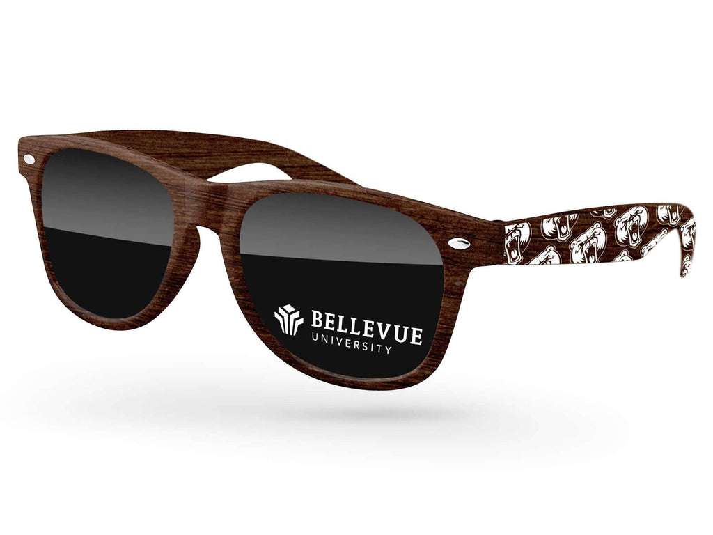 Faux-wood Retro Promotional Sunglasses w/ 1-color lens imprint & 1-color extended arm imprint