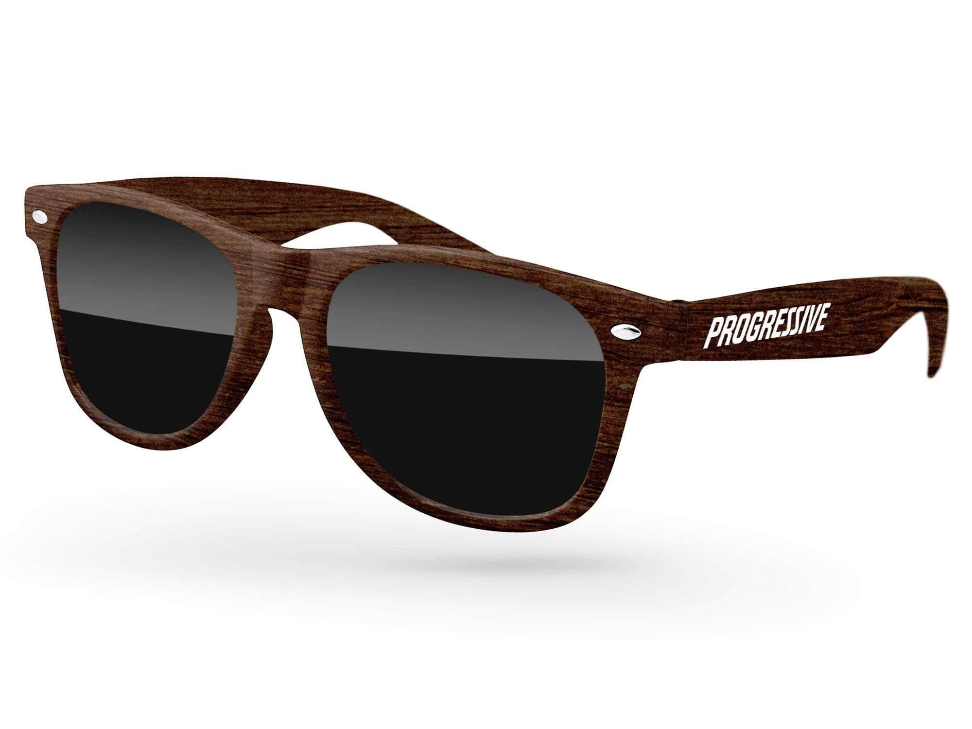 RD010-W - Faux-wood Retro Promotional Sunglasses w/ 1-color temple imprint