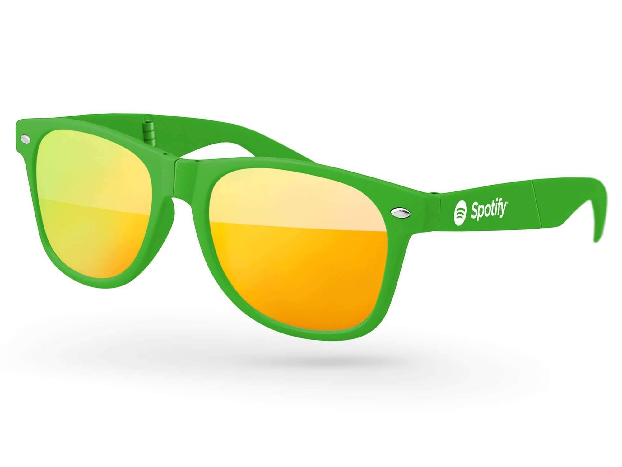 RM010-F - Foldable Retro Mirror Promotional Sunglasses w/ 1-color temple imprint