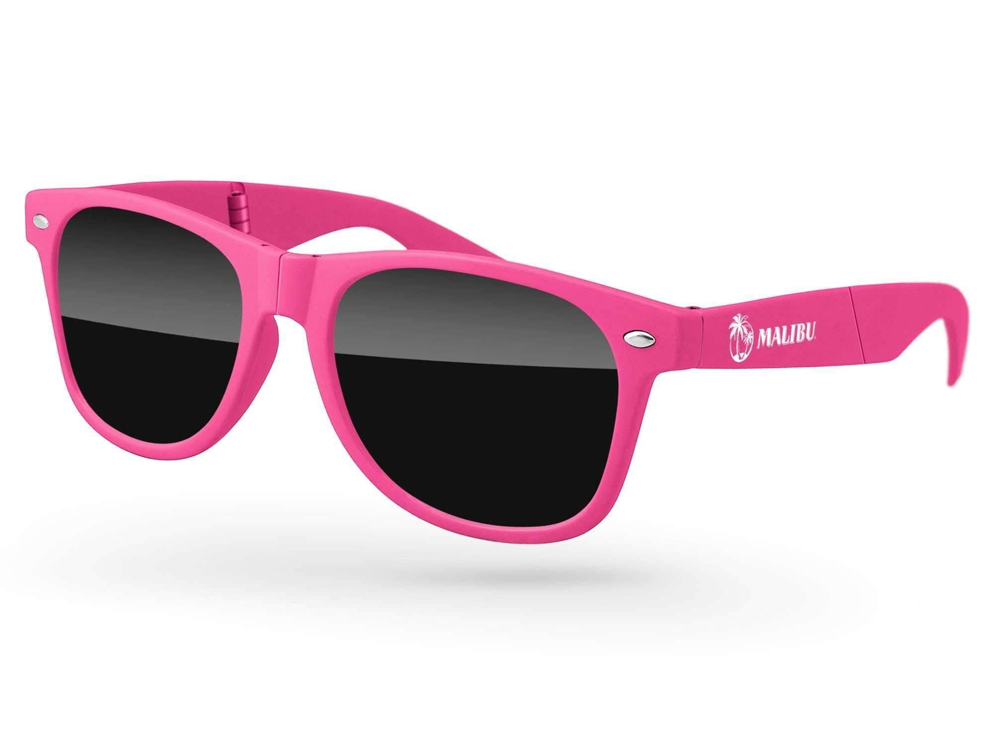 RD010-F - Foldable Retro Promotional Sunglasses w/ 1-color temple imprint