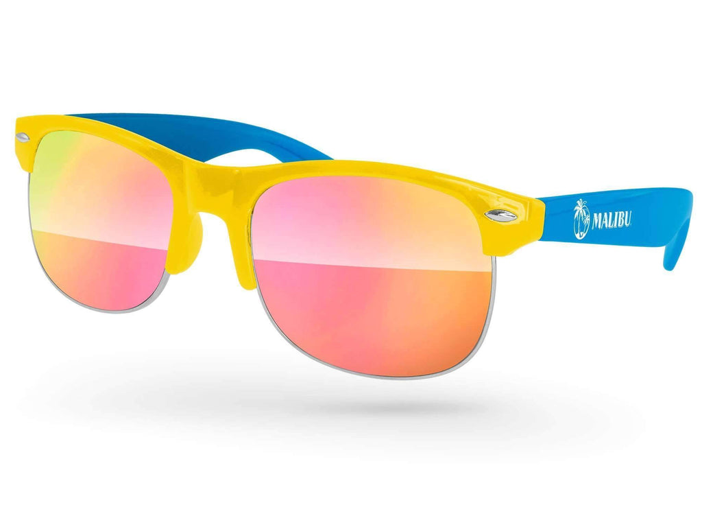 Food & Beverage - 2-tone Club Mirror Promotional Sunglasses w/ 1-color temple imprint