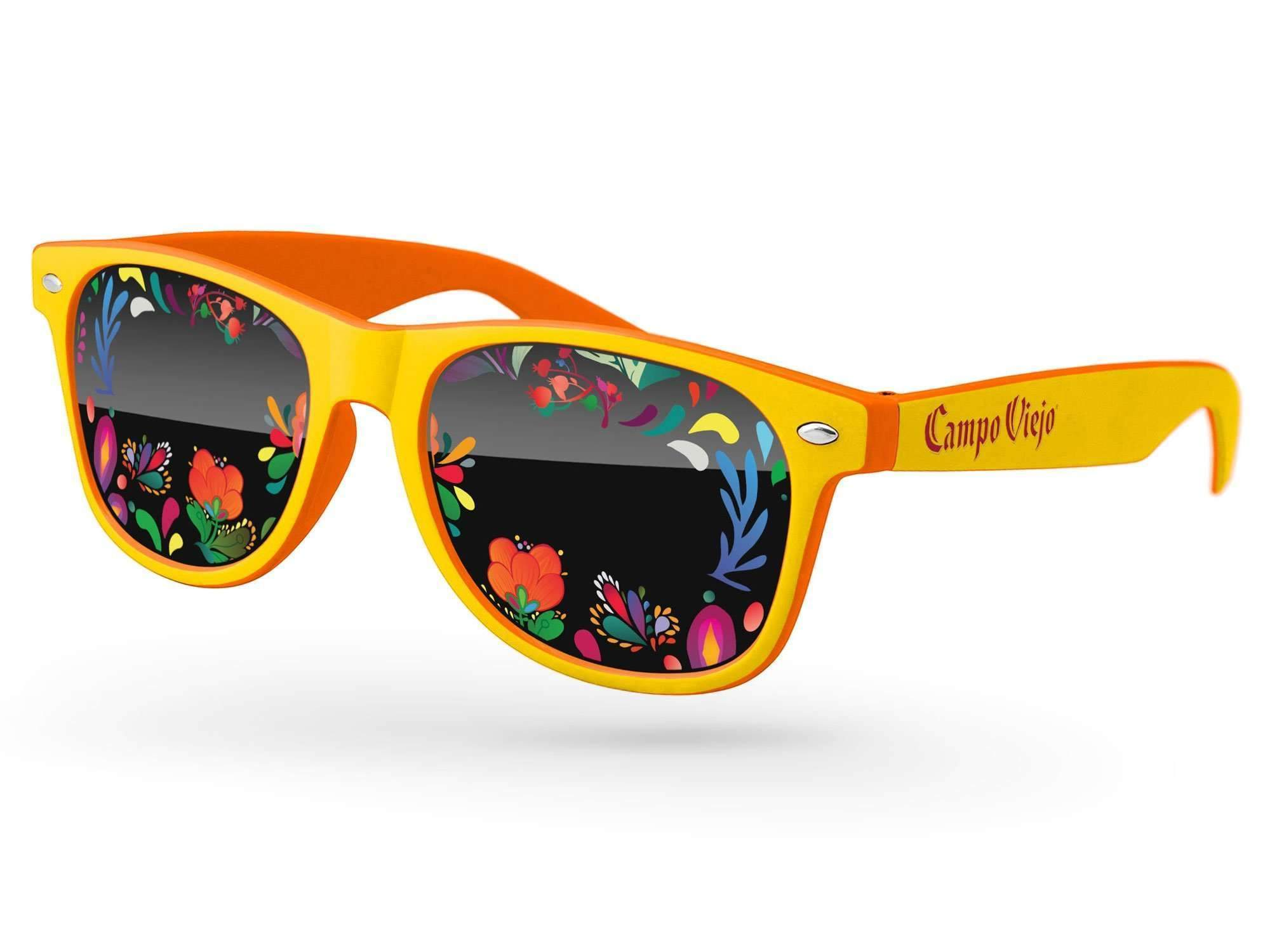 Food & Beverage - 2-tone Retro Promotional Sunglasses w/ full-color lens imprints & 1-color temple imprint
