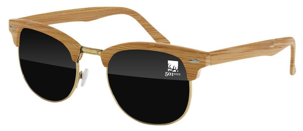 Food & Beverage - Faux-Wood Metal Club Promotional Sunglasses w/ 1-color lens imprint