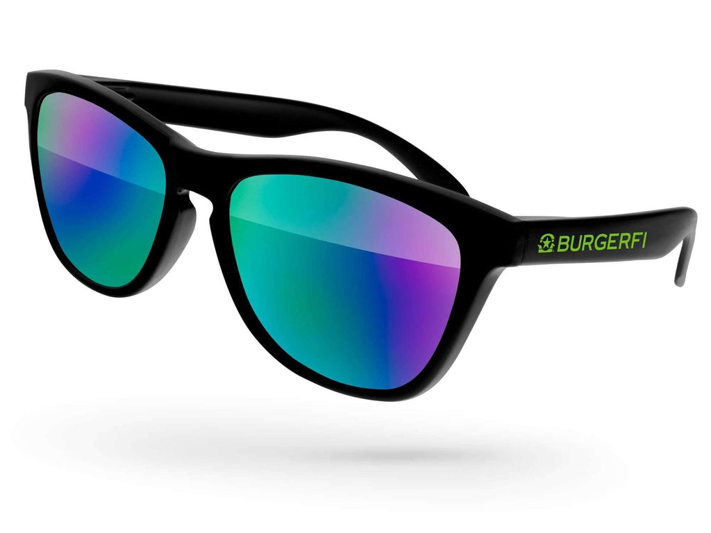 Food & Beverage - Frog Mirror Promotional Sunglasses w/ 1-color temple imprint