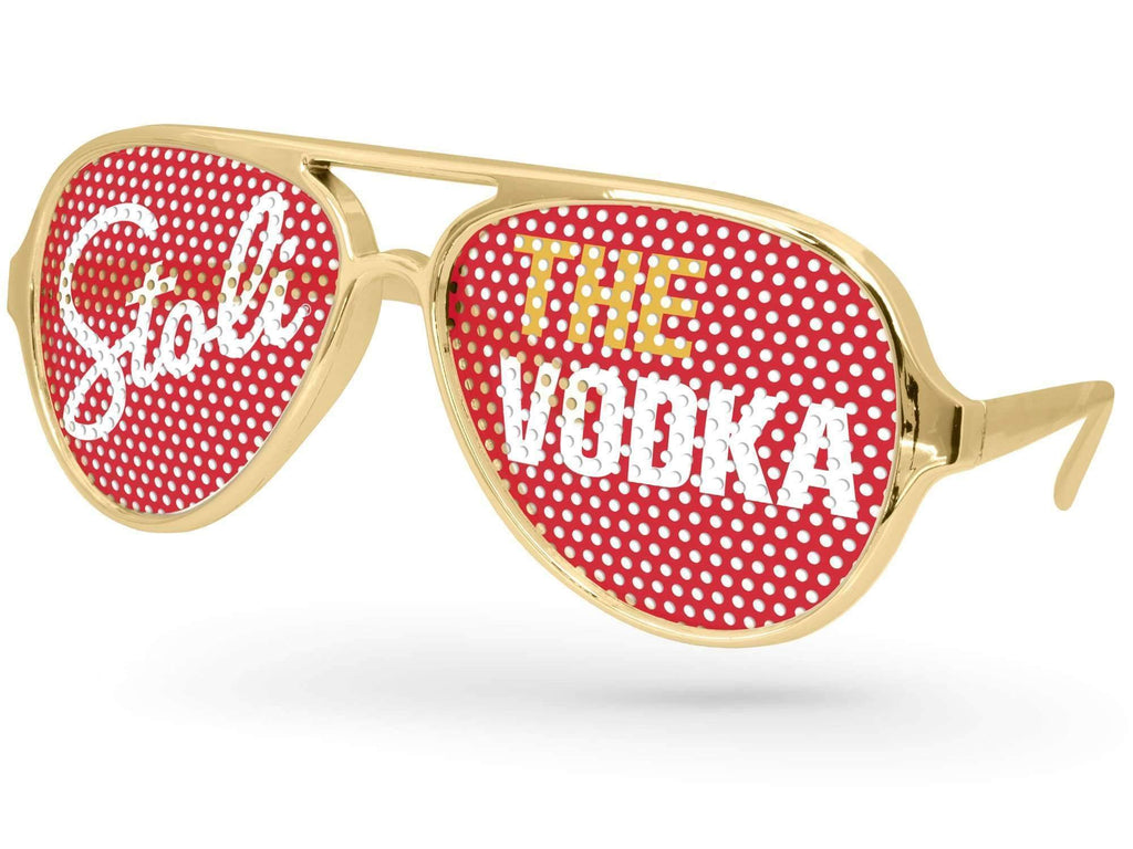 Food & Beverage - Metallic Aviator Pinhole Promotional Sunglasses