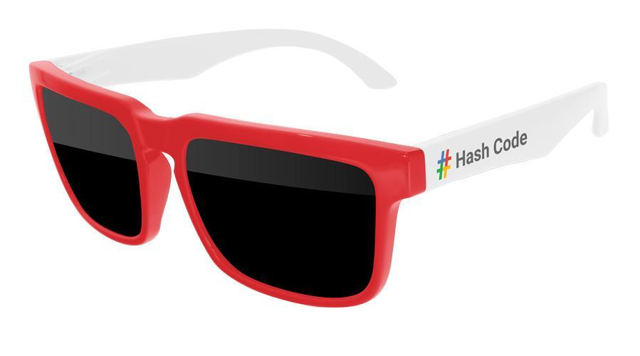 HD022 - 2-tone Heat Promotional Sunglasses w/ full-color temple imprint
